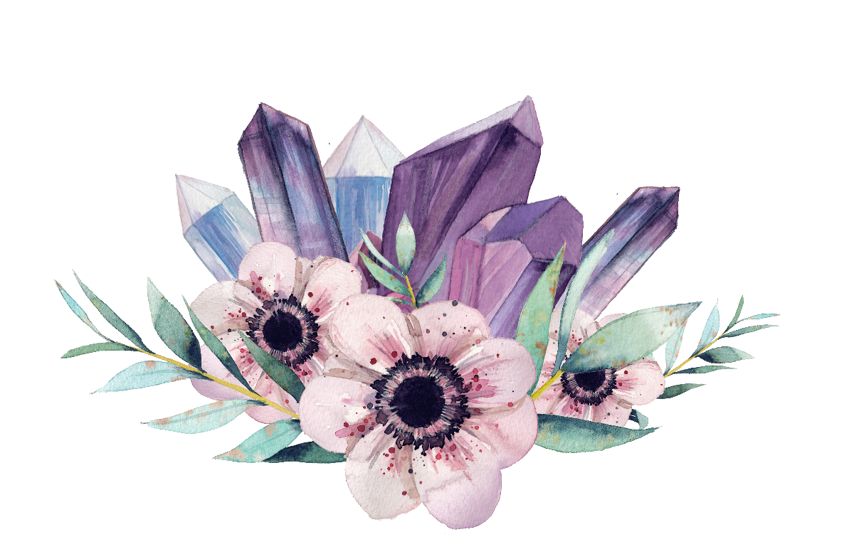 black and white download Gemstone Flower Watercolor painting Crystal Clip art