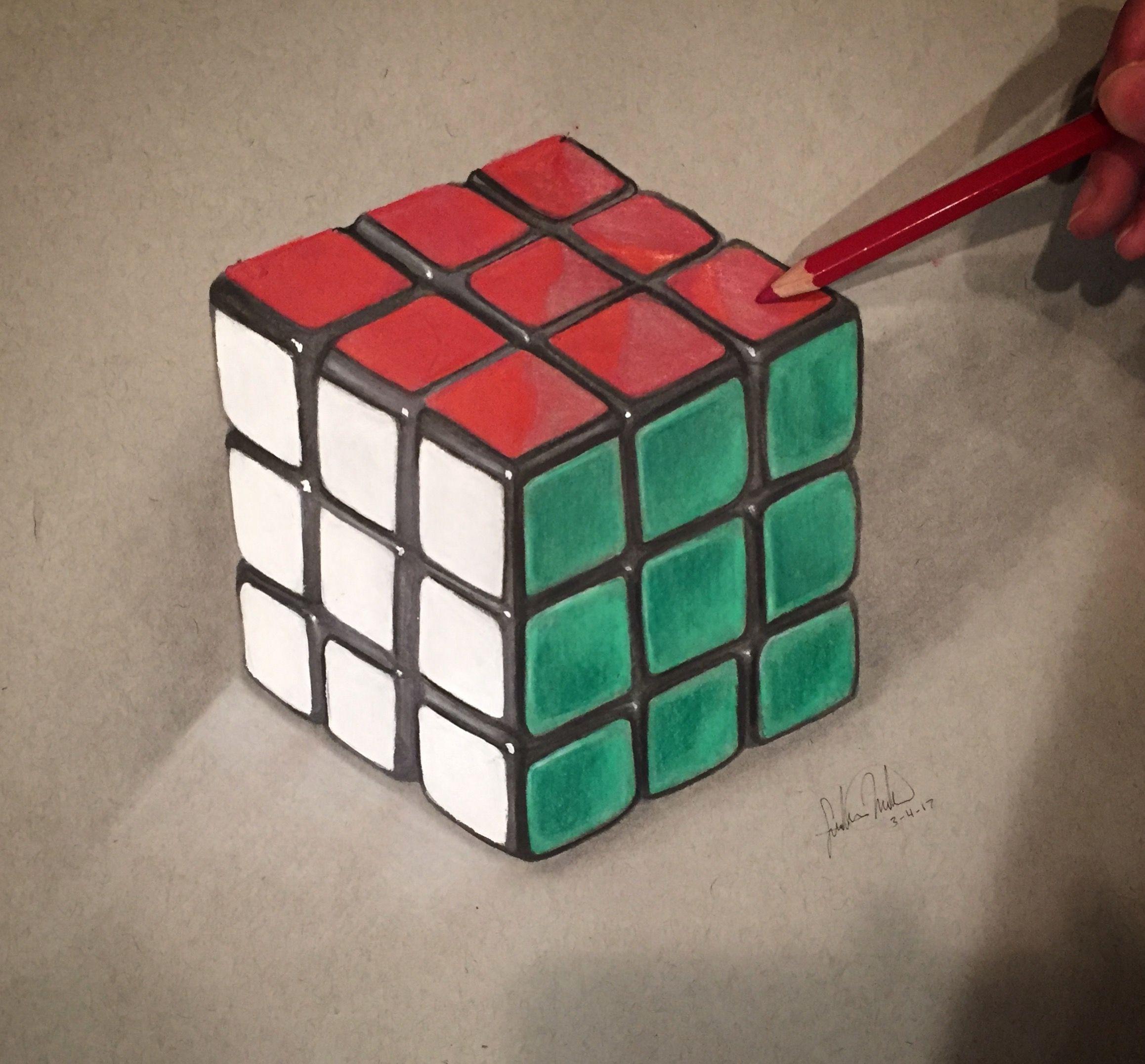svg Realistic Rubix Cube Drawing