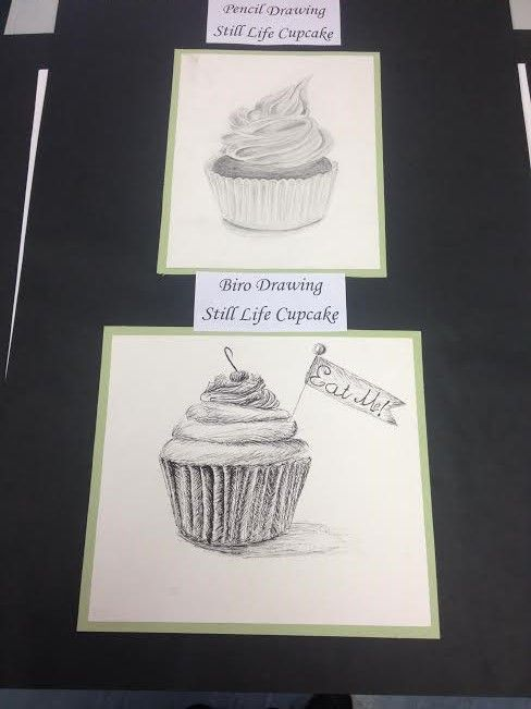 clip art black and white Pencil and Biro Still Life Cupcake Drawing