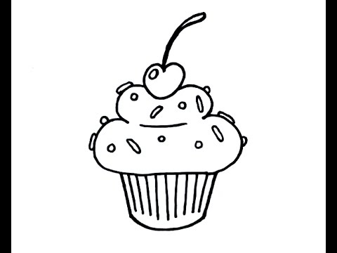 jpg library library Drawing cupcake cartoon. How to draw a