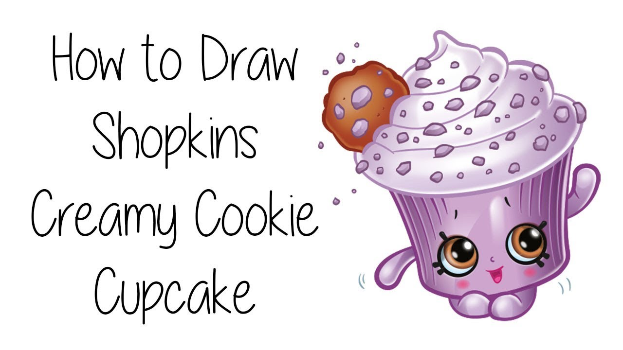 graphic library Drawing cupcake cookie. How to draw creamy