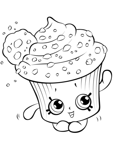 clip royalty free library Creamy shopkin coloring page. Drawing cupcake cookie
