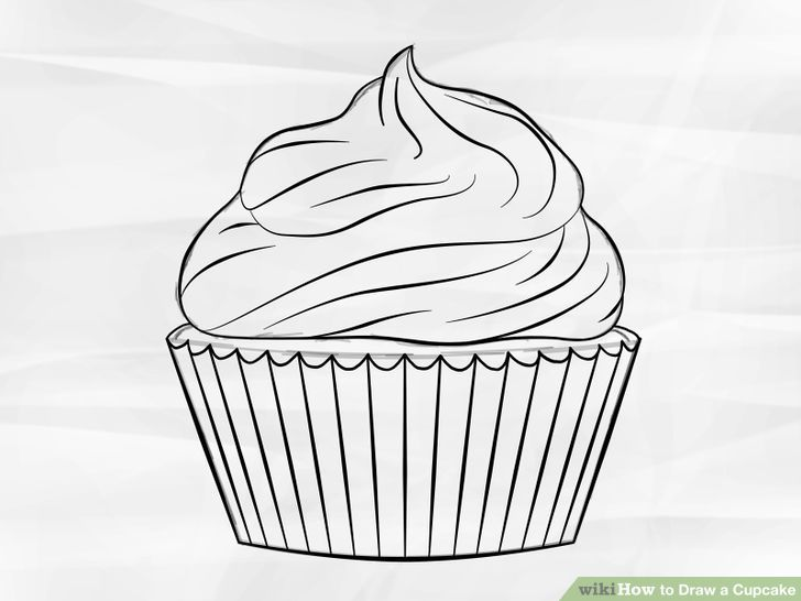 image transparent Baking drawing step by. Draw a cupcake drawings