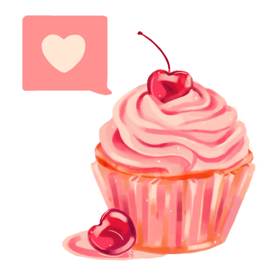 jpg royalty free library Cherry Heart Cupcake PNG by MagicalMoments