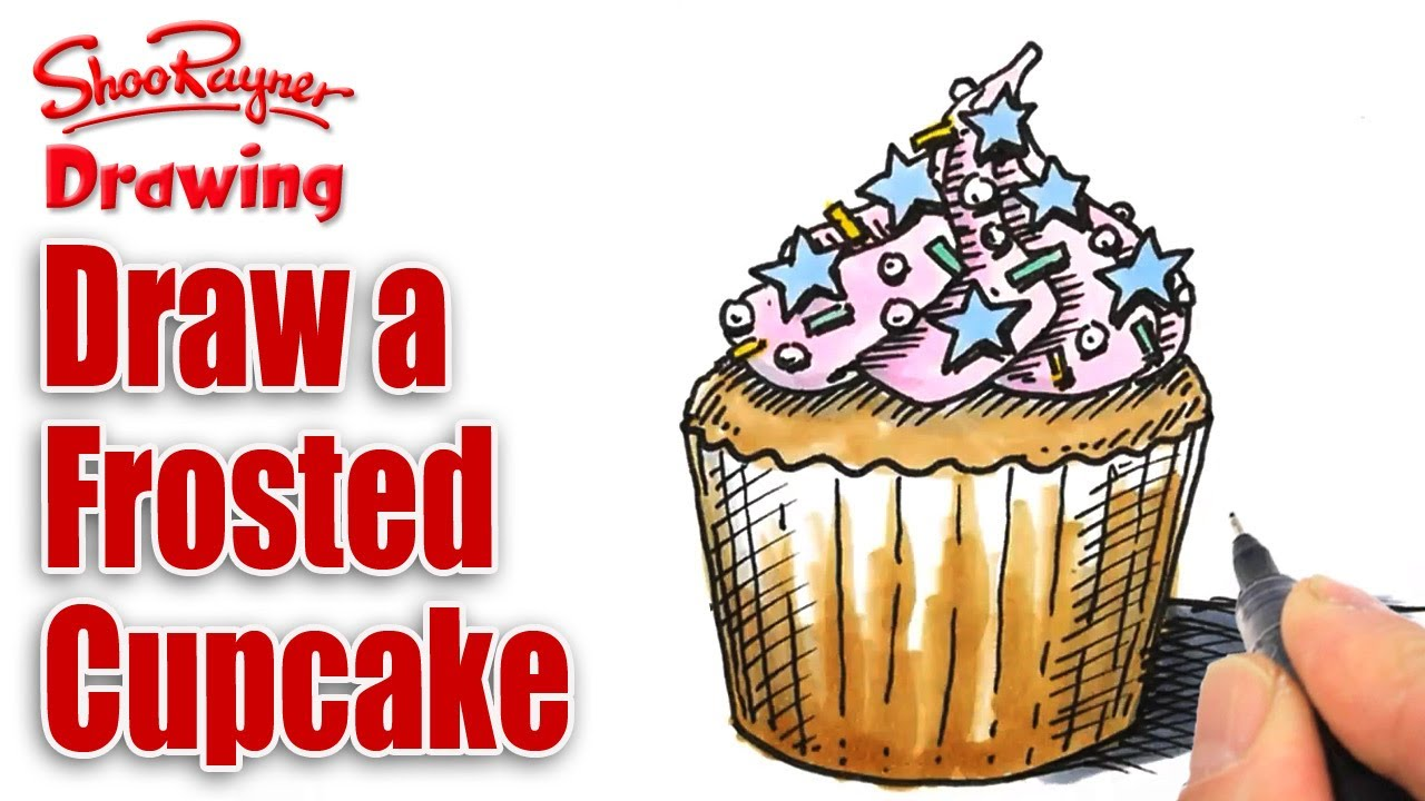 clip freeuse stock Drawing cupcake frosting. How to draw a