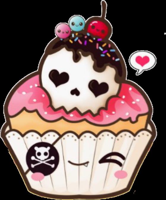 clip art library library kawaiicupckake kawaii cupcake skull drawing sticker fre