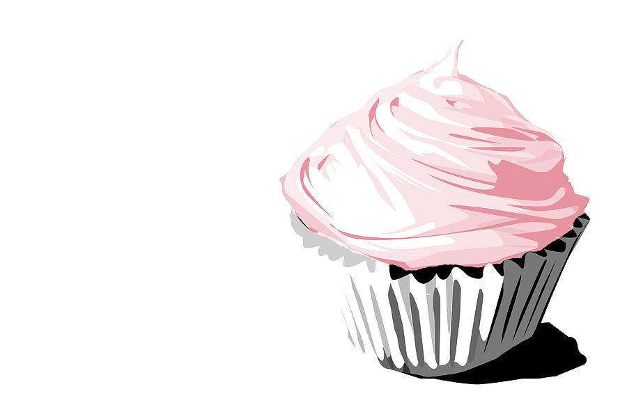 graphic library Fine art print design. Drawing cupcake pink