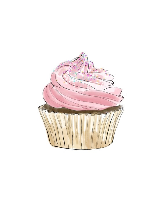 picture download Drawing cupcake pink. Print digital download kitchen