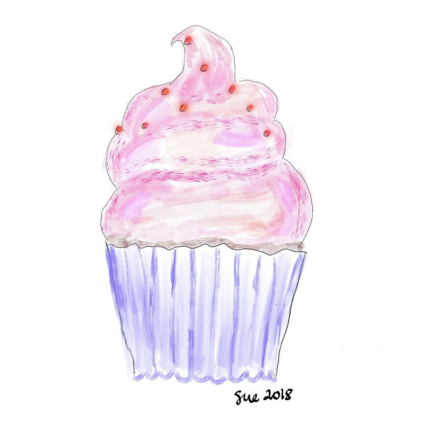 black and white Birthday with frosting . Drawing cupcake pink