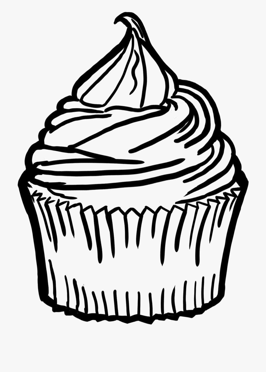 clip art black and white Cupcake . Baking drawing swirl