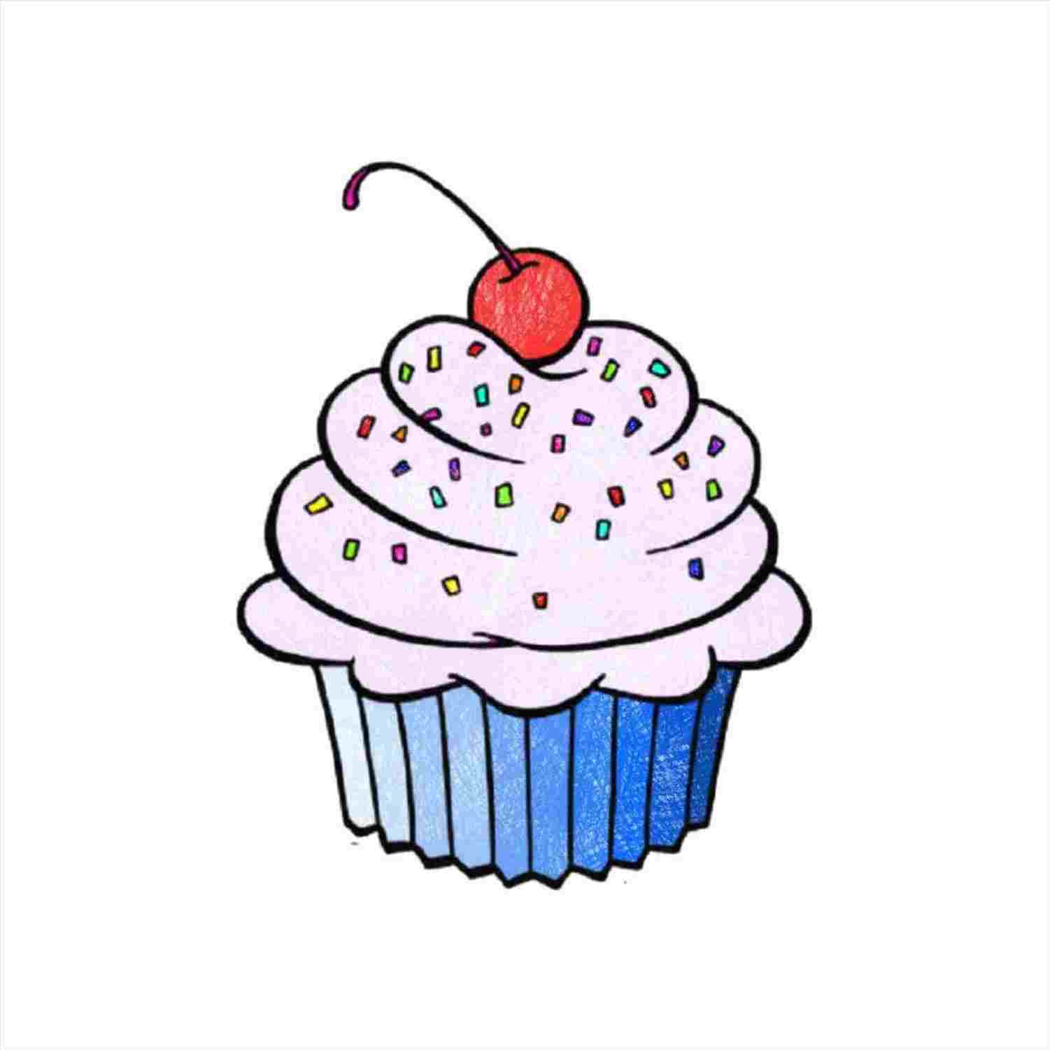 freeuse download Simple Cupcake Drawing at PaintingValley