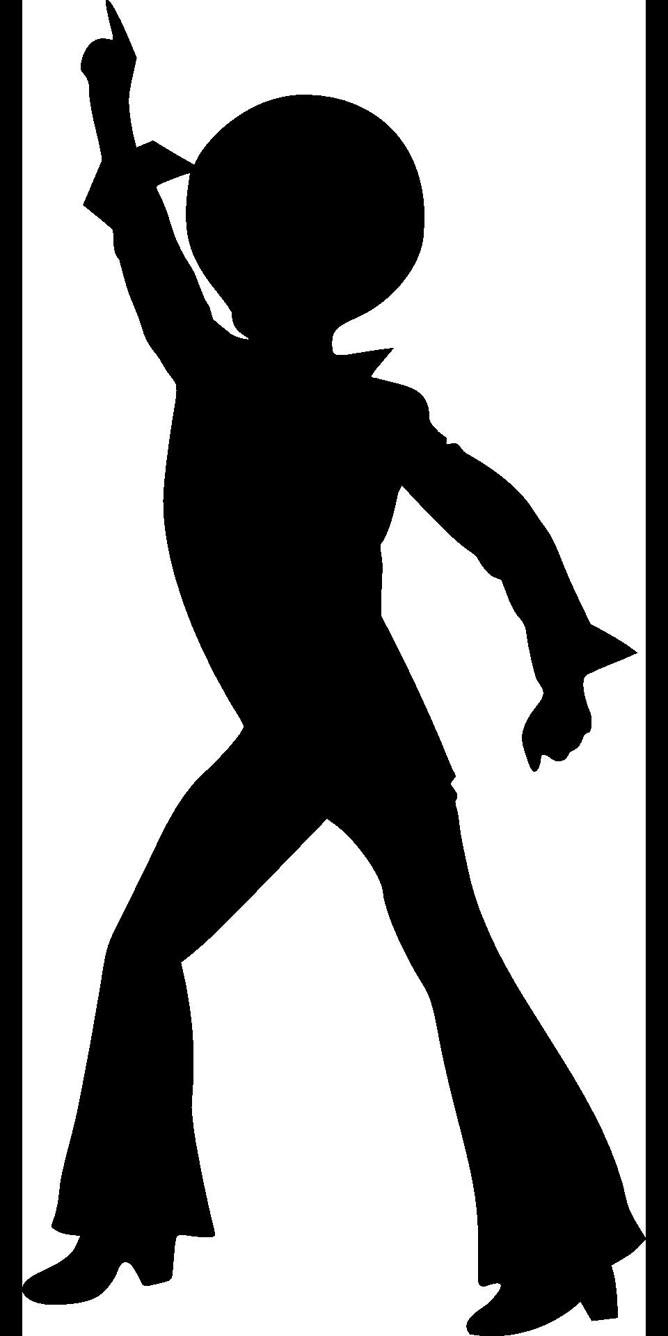clip stock Figure disco dancer black white drawing free image