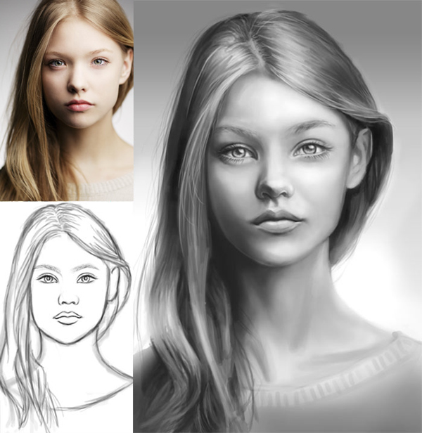 image black and white library Drawing portrait person. How to digitally paint