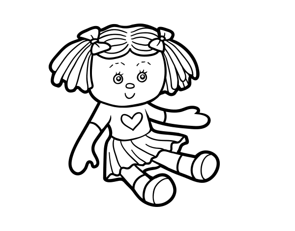 clip art black and white Drawing toy doll. Barbie coloring book transprent