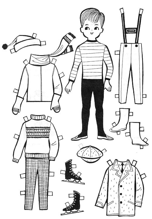 graphic Paper Dolls to Color and Cut Out