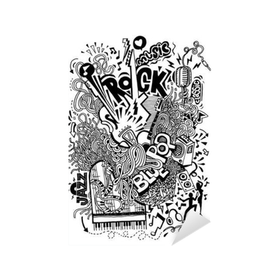 banner royalty free stock Hand collage with musical. Drawing doodle