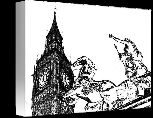 png transparent Big Ben and Boudica Charcoal effect Image by David Pyatt