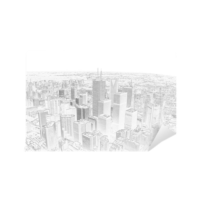 clip pencil drawing of a toronto city skyline Wall Mural