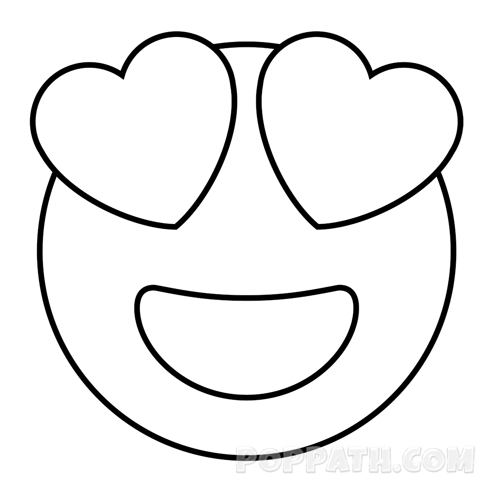 svg black and white stock How To Draw A Heart Eyes Emoji