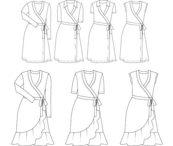 clip freeuse download Diana Wrap Dress Curvy Sewing Pattern Wardrobe By Me PDF sewing pattern