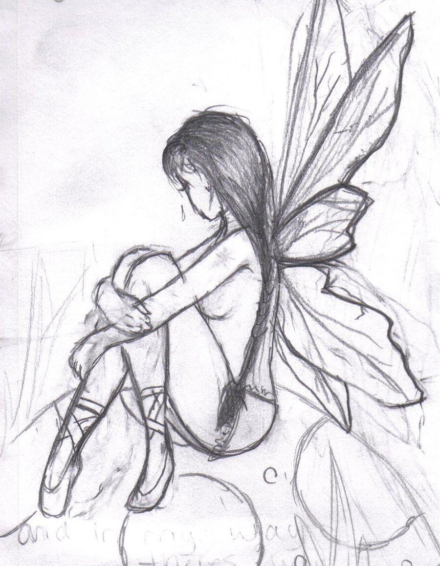 banner library Drawing fairy. Dark drawings easy in.