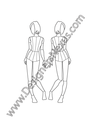 clipart royalty free stock Childrens fashion croqui template. Figures drawing model.