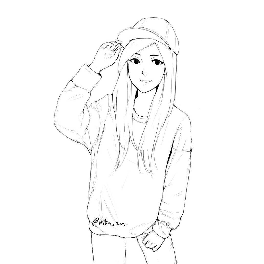 image freeuse stock Drawing sweaters anime. I love oversized sketch