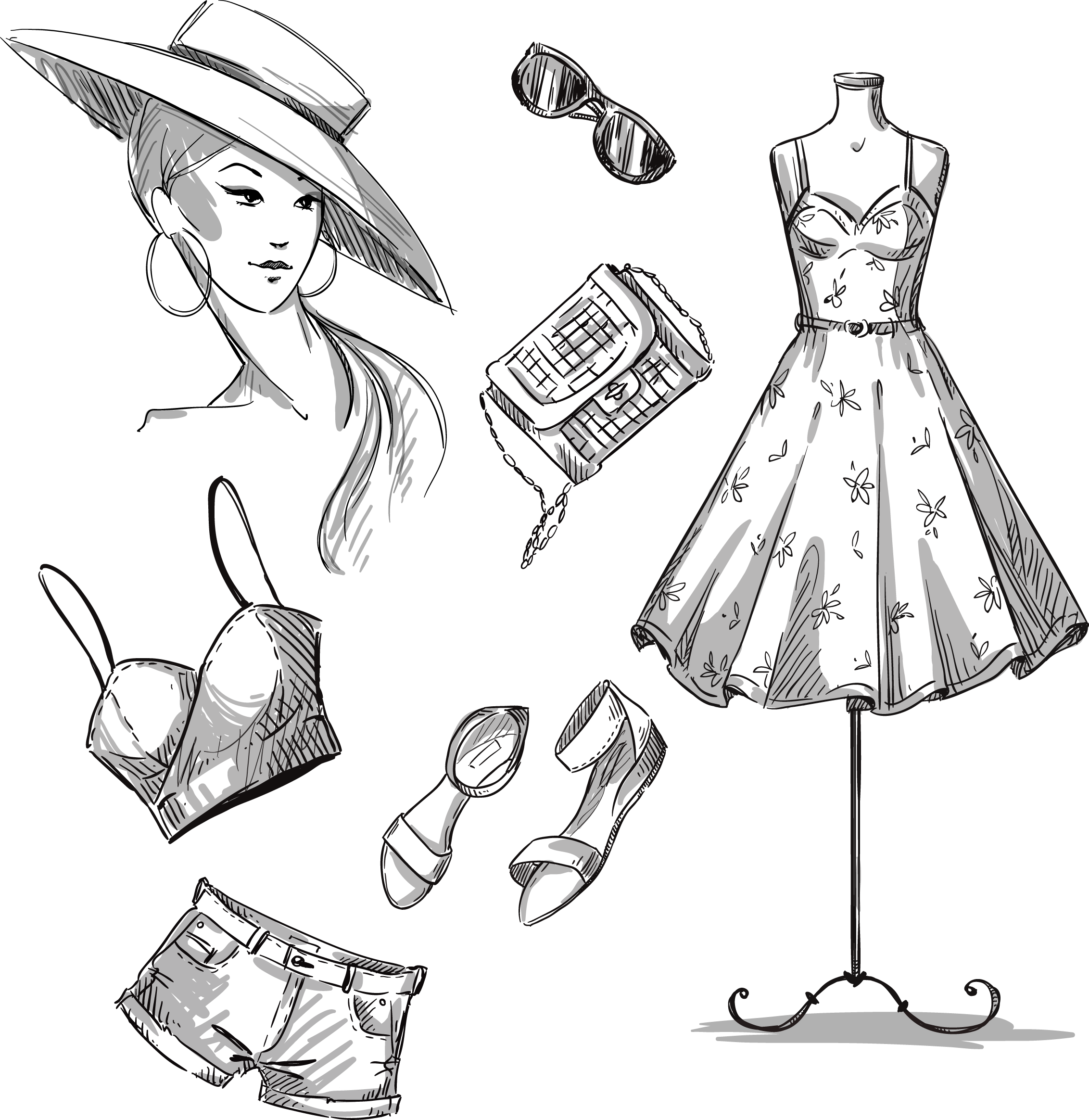 jpg library stock Dress stock photography clothing. Drawing outfits female