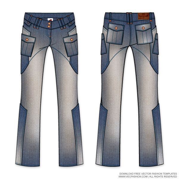 royalty free stock Vector clothing dress pants. Womens denim cargo template