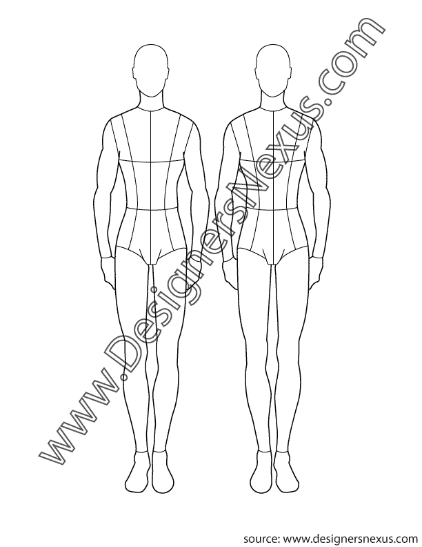 clip art freeuse library Male figure templates at. Manikin drawing fashion design.