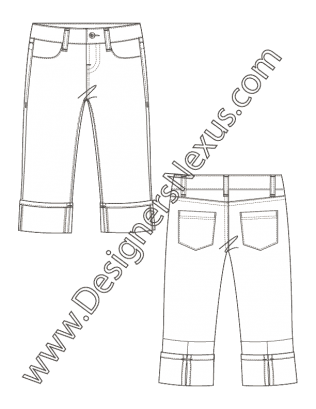 clipart black and white library Fashion flat sketch of. Drawing outfits pants