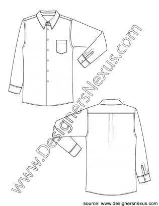 picture black and white library Classic mens dress shirt. Drawing shirts gown