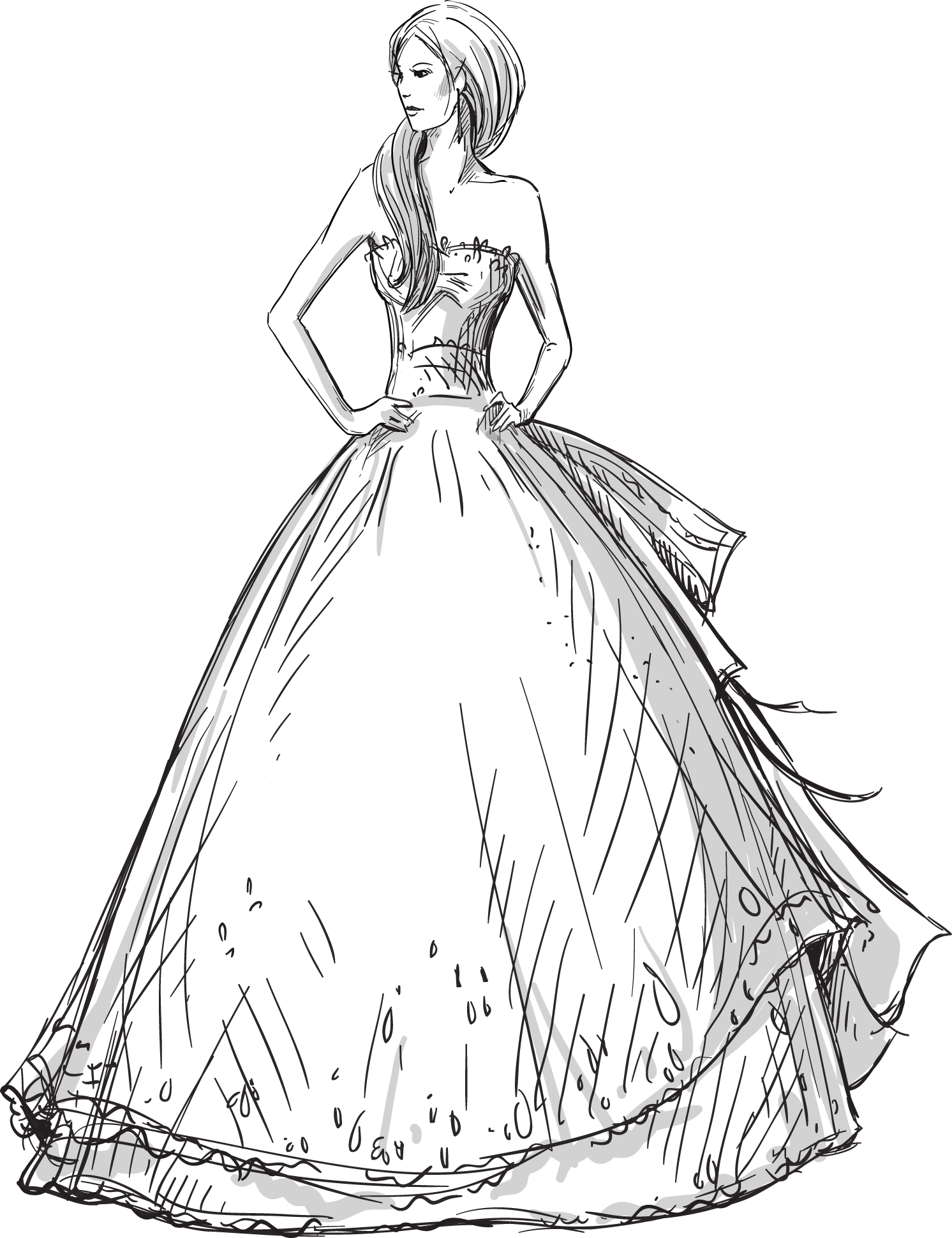 svg royalty free library Drawing outfits female. Wedding dress fashion hand
