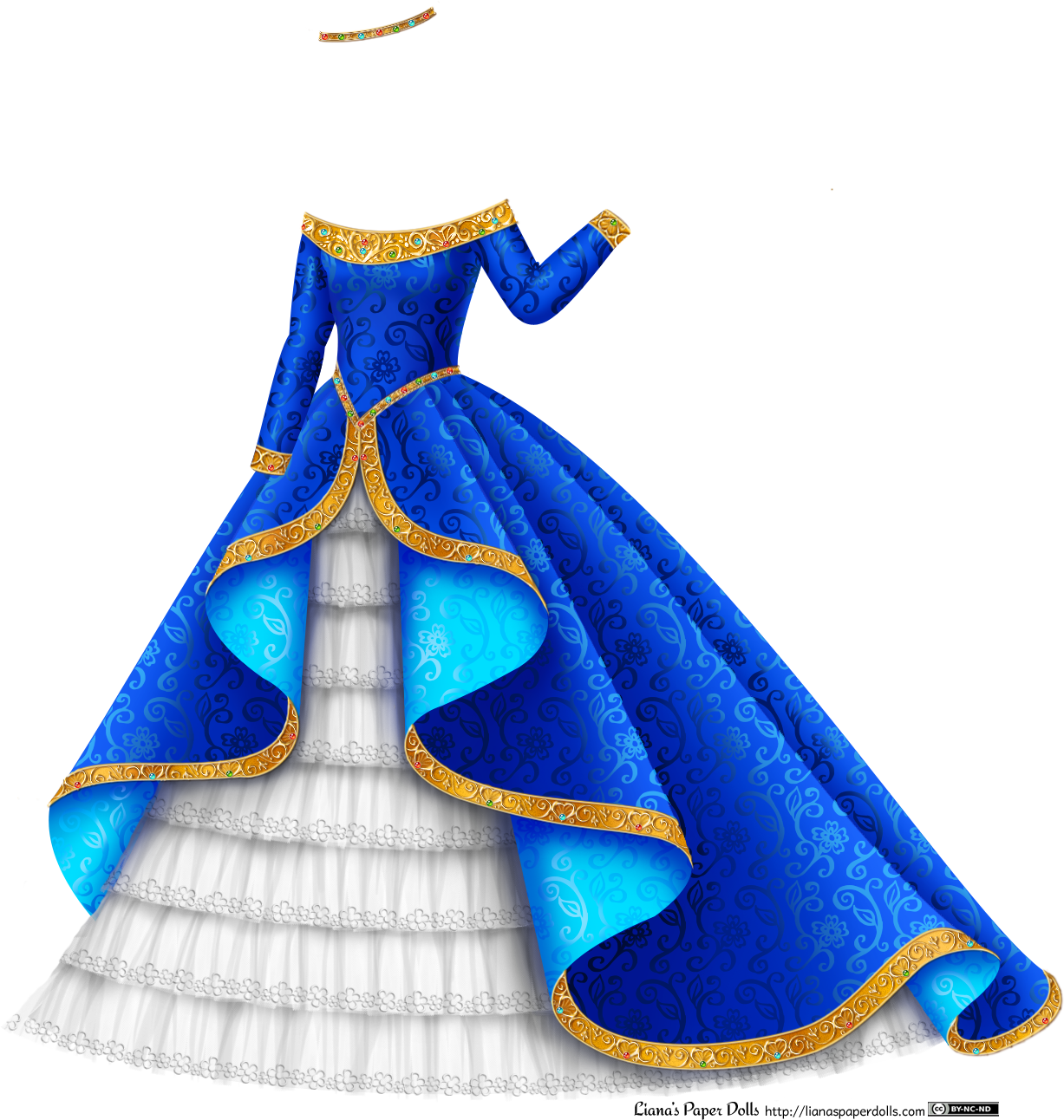 vector black and white Drawing princess outfits. Blue and gold gown
