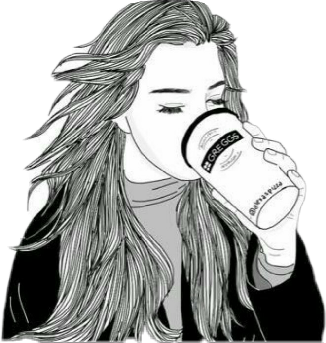 clip black and white girl coffee starbucks drawing