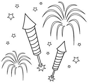 banner Drawn fireworks sketch