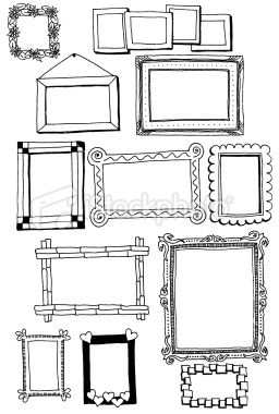 vector freeuse Drawing frames. Hand drawn doodles of