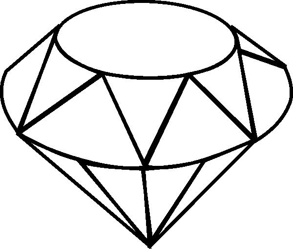 free stock Diamond line drawing shape. Black clip gem