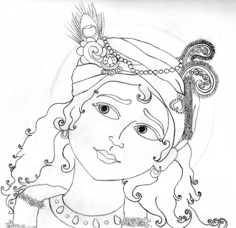 clip free library Lord krishna pencil sketches. Drawing god