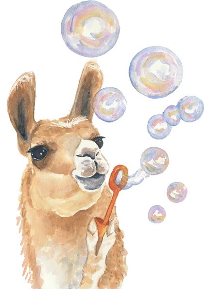 banner library download Llama blowing bubbles LOL Peru VBS