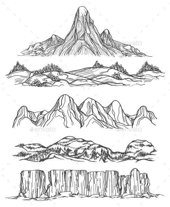 png black and white download Drawing hills. Hand drawn mountains and