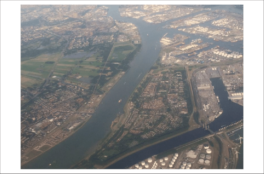 transparent stock The contemporary Rotterdam port with oil refineries and storage
