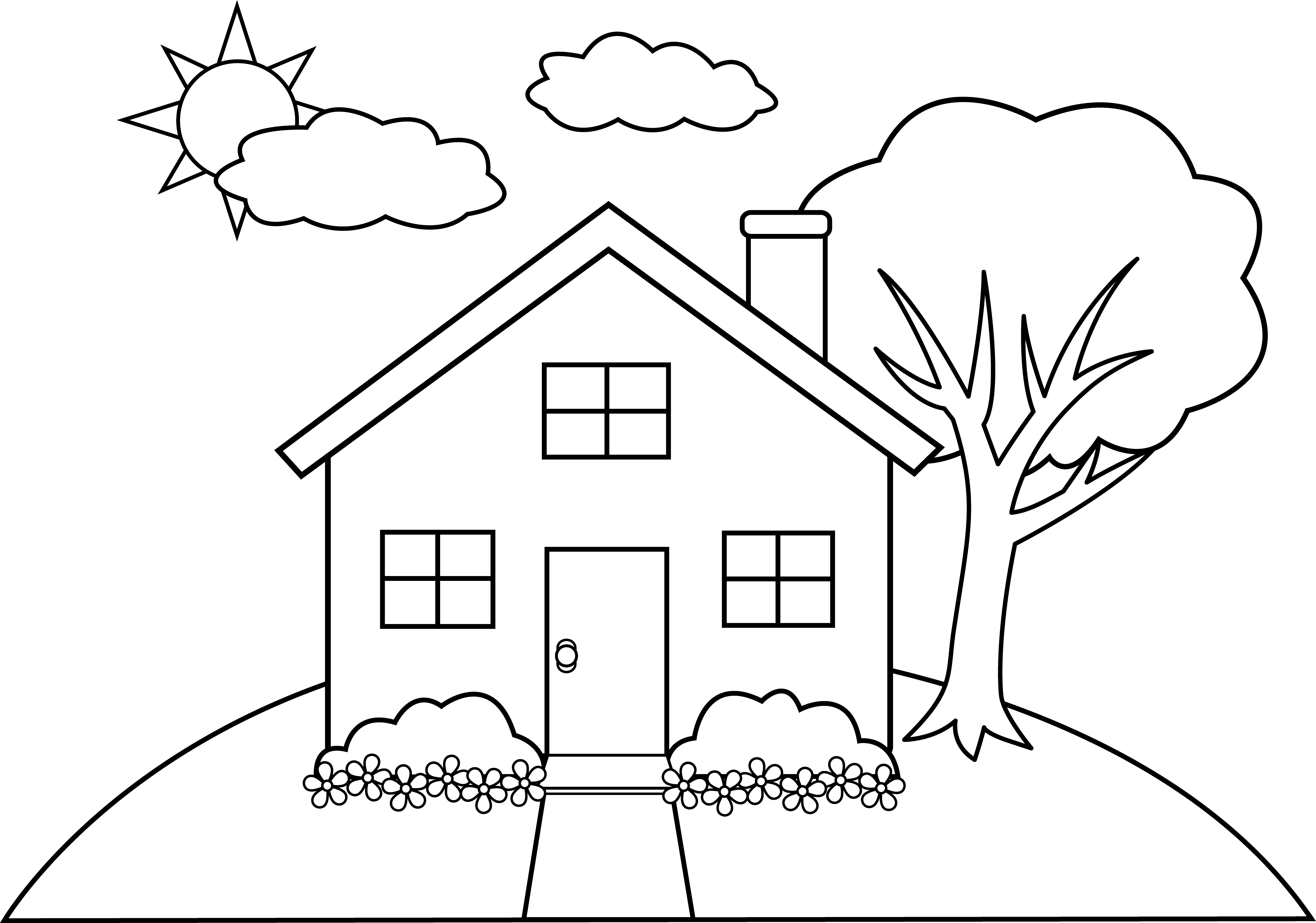 image download Drawing printables house. Hill clipart outline pencil