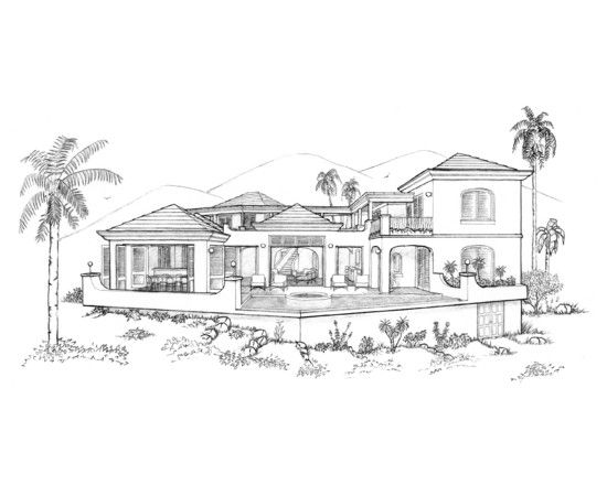 graphic royalty free library Sketches of modern google. Houses drawing dream house