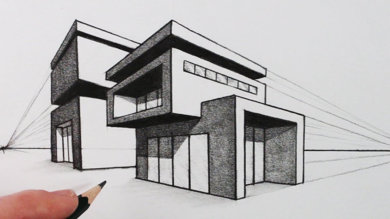 clipart How to Draw a House in Two Point Perspective