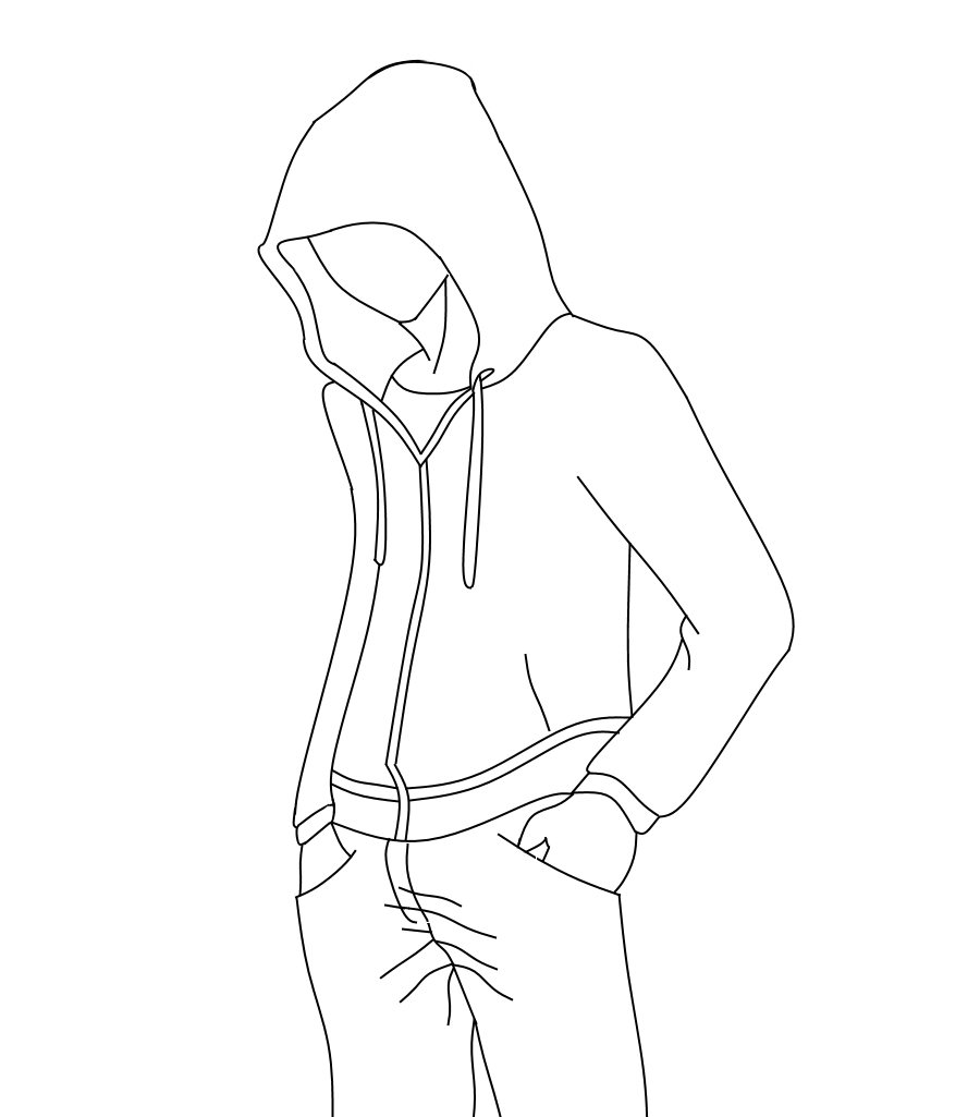 png transparent stock Outline for hoodie designs. Drawing perspectives character