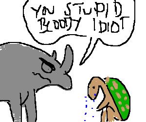 image free Rhino curses at turtle. Drawing sad angry