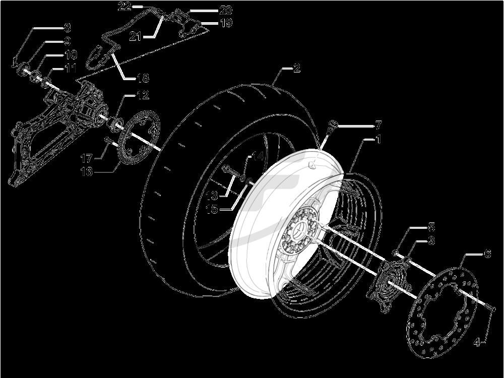 graphic royalty free library Drawing hub wheel. Piaggio b rear plug