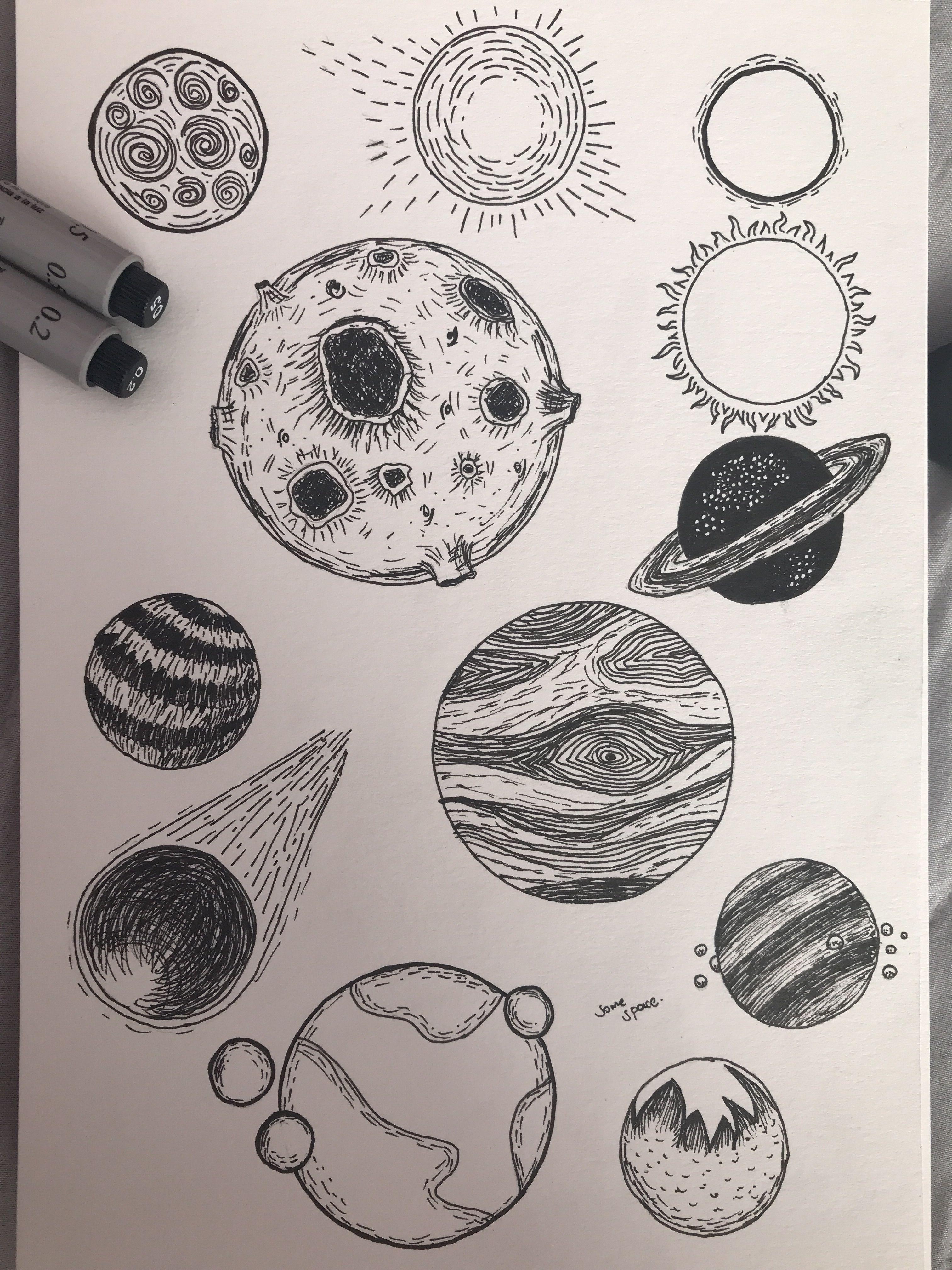 image free Ink planets art in. Uranus drawing pen.