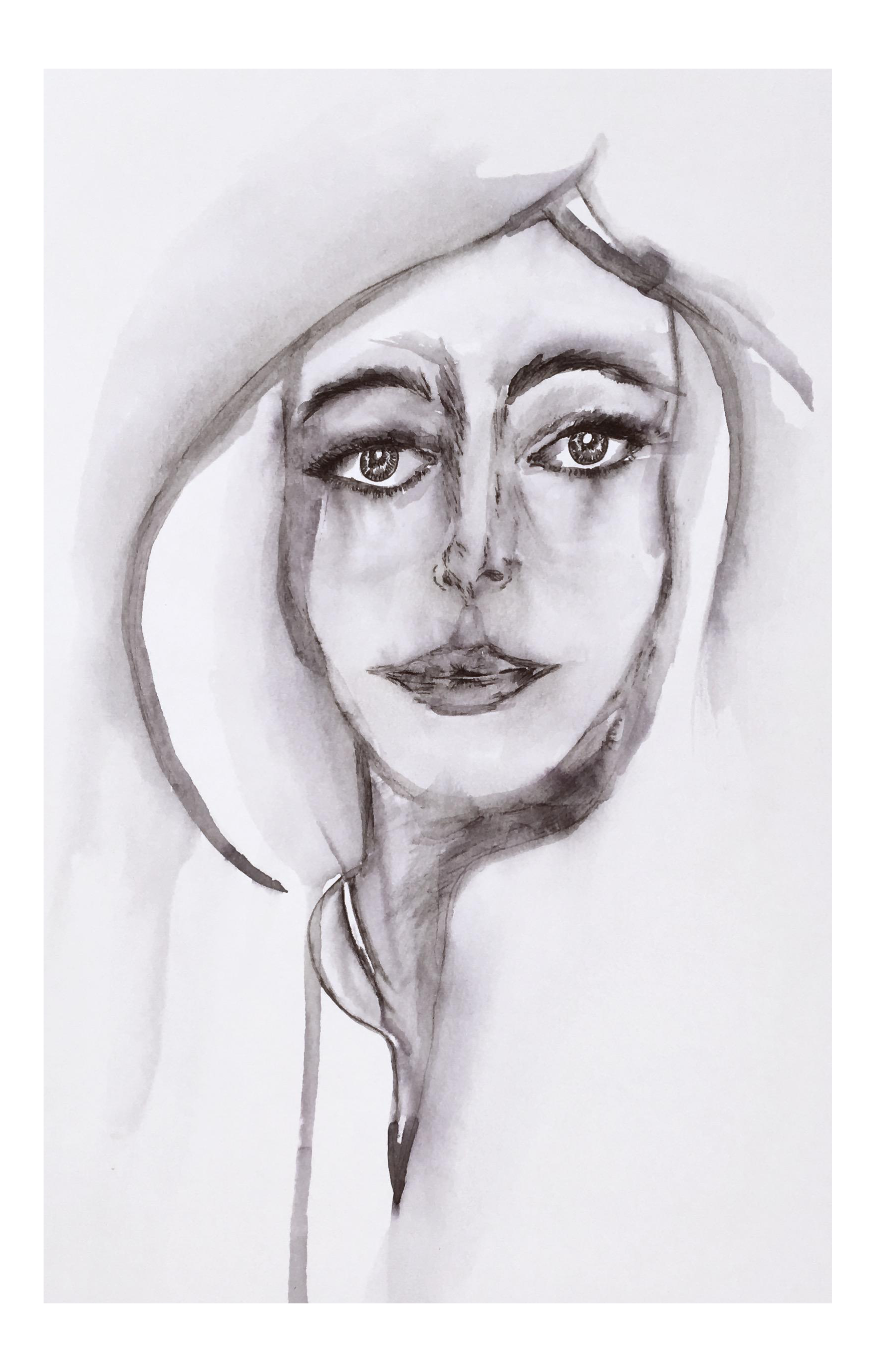 picture royalty free stock Original insight ink painting. Drawing portrait portraiture